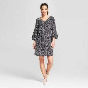 A New Day Bell Sleeve Floral Mutted Tones Dress